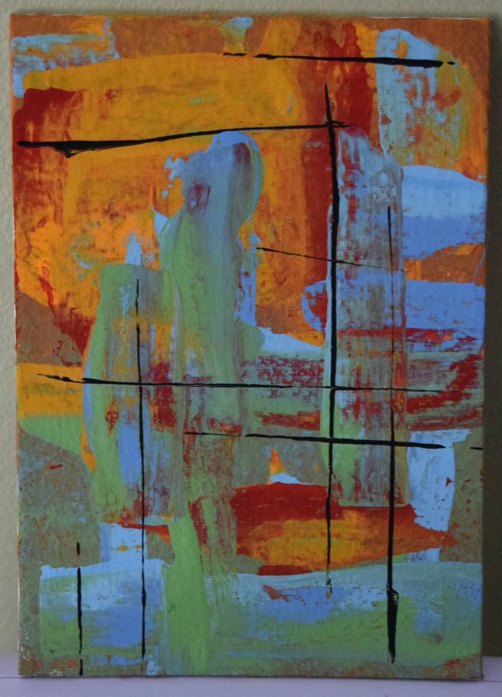 Rust and Turquoise: Original painting, acrylic on canvas board.